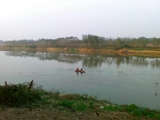丰收的季节,渔家也不闲着,沙河里捞鱼的小舟!