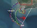 横渡东锣岛规划轨迹路线总图。 ?#23548;手?#34892;?#28193;?#36712;迹,?#23548;?#23436;成时记录的轨迹是红色。